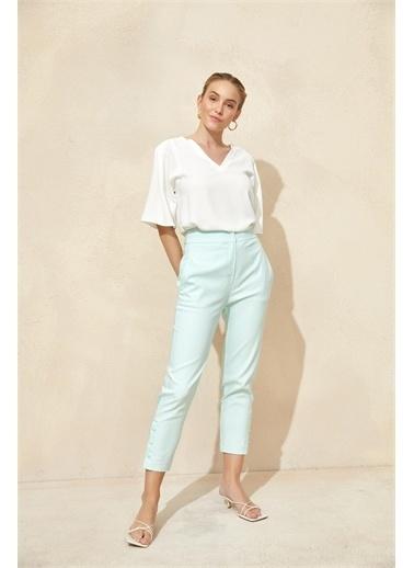 Setre Aqua Yüksek Bel Çıtçıtlı Pantolon Renkli